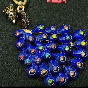NWT BJ necklace with enamel/crystal Peacock pendan